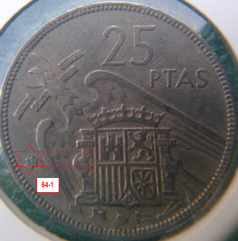 Geometría de las estrellas de las monedas de 25 pesetas 1957* 64_1_E