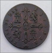 8 Maravedis. Isabel II. 1843. Segovia. Dedicada a Javi. Image