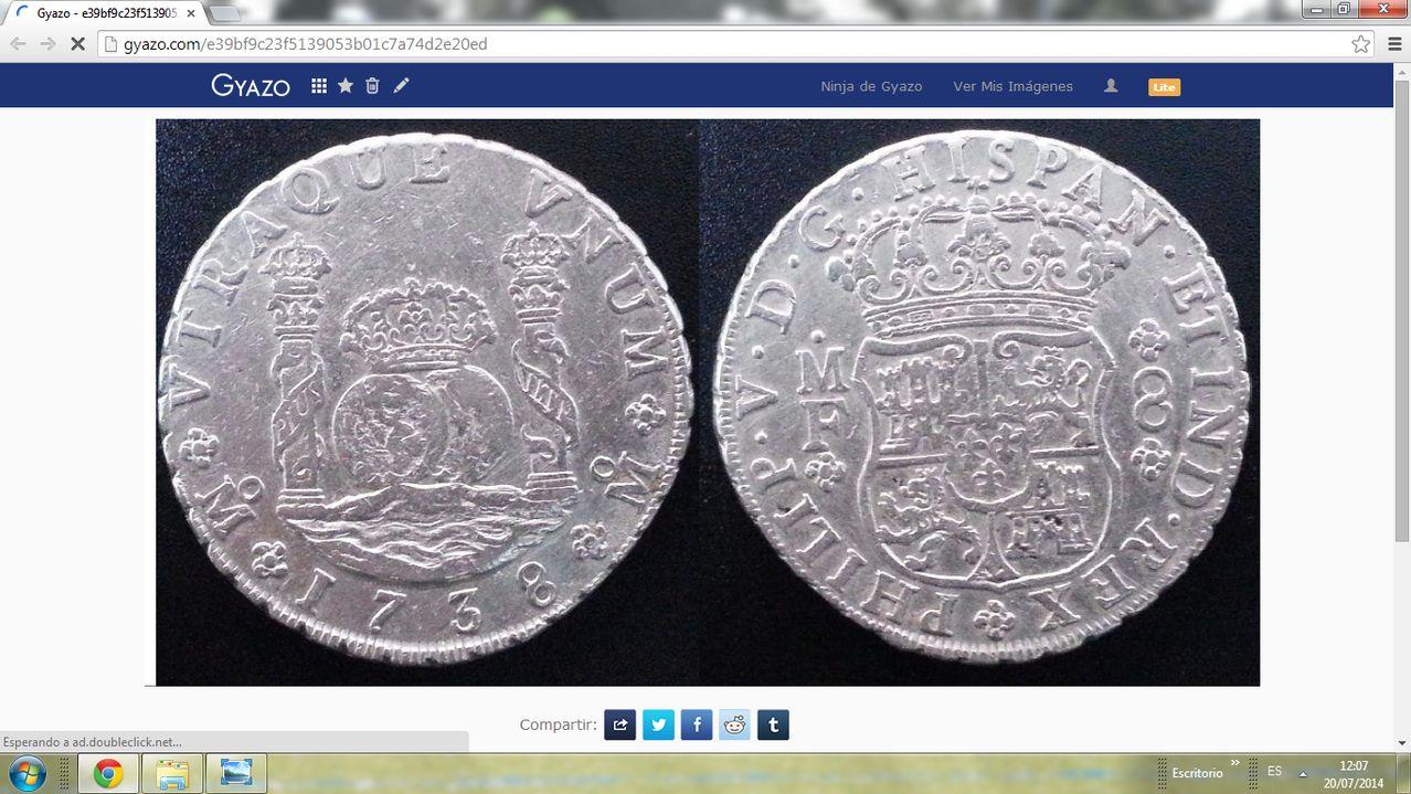 8  reales   FELIPE V 1738 MF MEJICO    Monedon