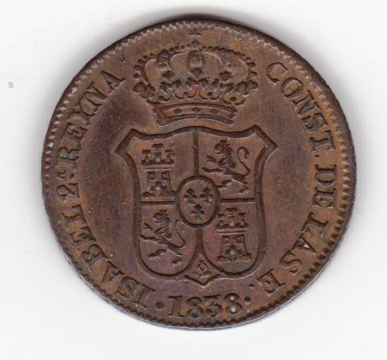 3 cuartos 1838, Isabel II. Principado de Cataluña 3_cuartos_1838