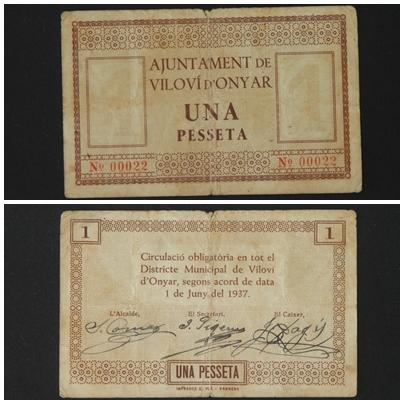1 Peseta Viloví D' Onyar, 1937 T_2897