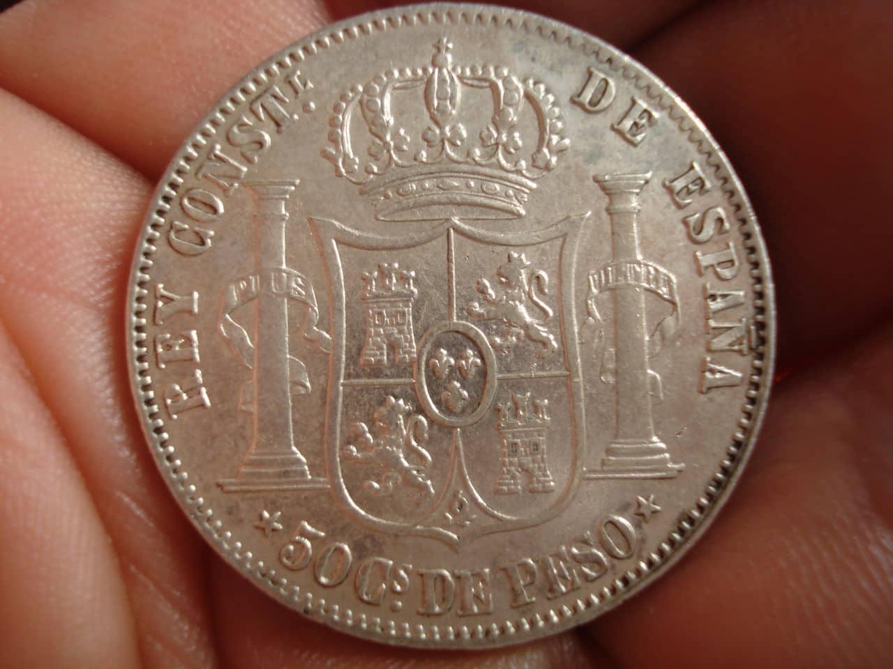 50 Centavos de Peso 1885 Alfonso XII Filipinas DSC02418