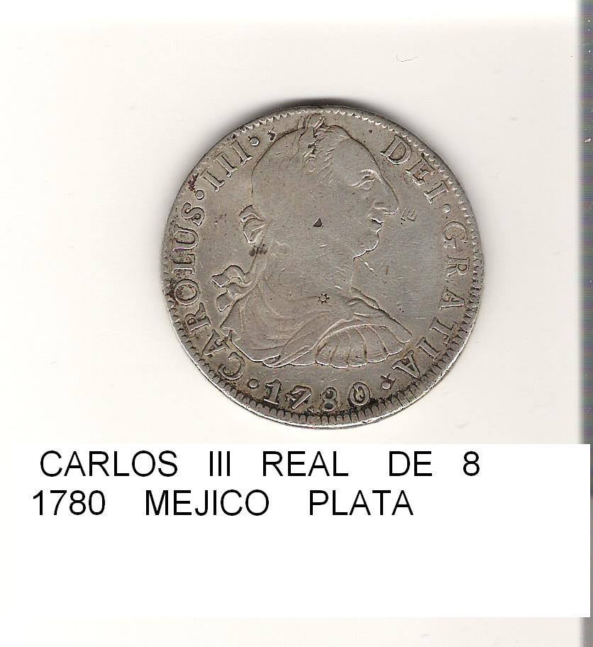 8 reales de Carlos III año 1780 Image