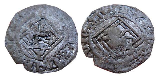 1/4 de real de Enrique IV. Burgos (resello en reverso) Blanca_e_IV_resello