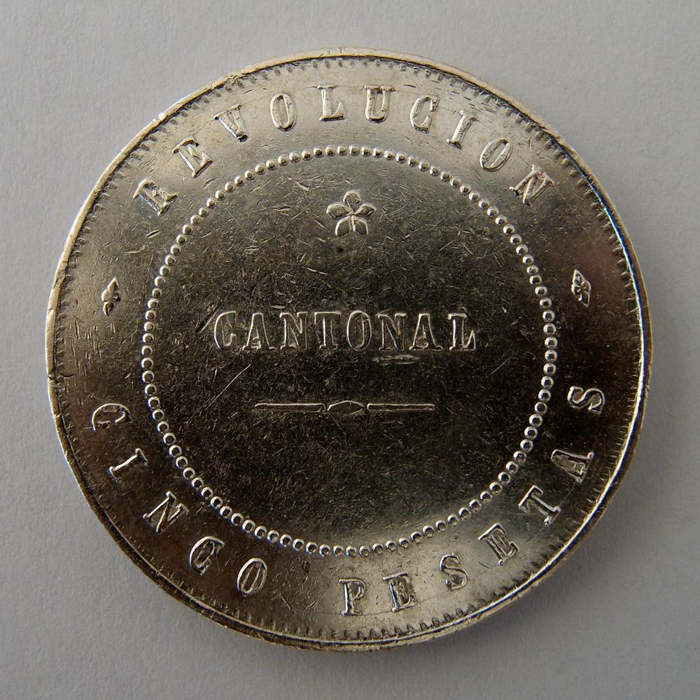 5 pesetas 1873 - Cartagena - Primera República (Revolución Cantonal) - 222r