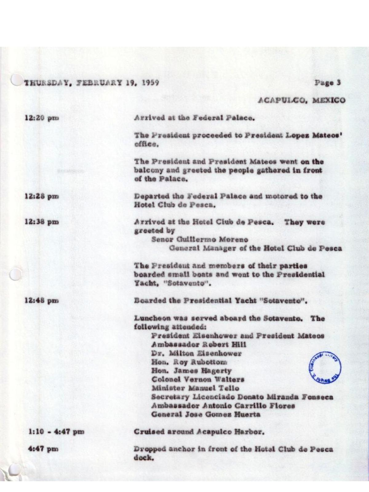 YATES PRESIDENCIALES – YATE SOTAVENTO – ARMADA DE MEXICO - 1948 Page_3_AGENDAEISENHOWER1
