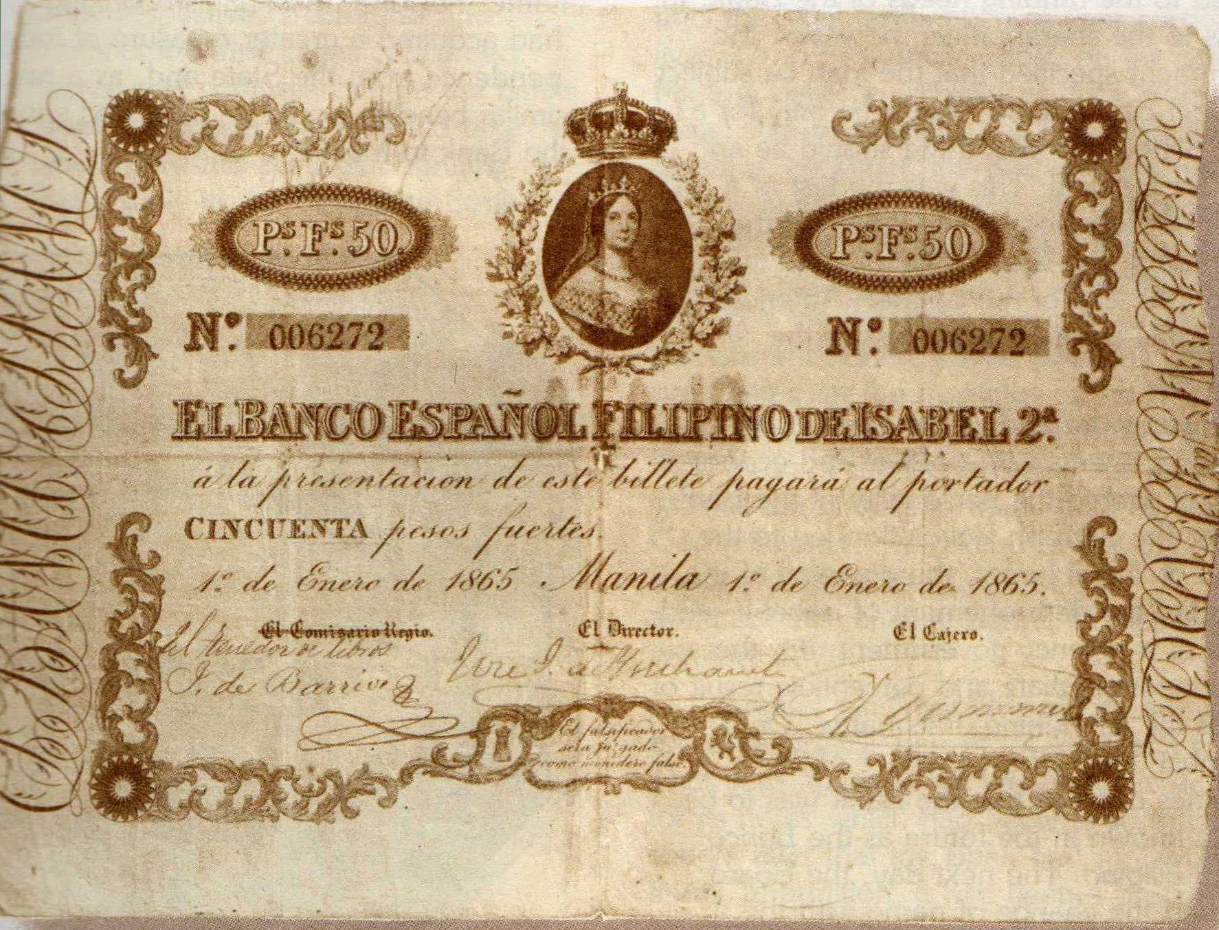 50 Pesos fuertes de Filipinas de Isabel II PHL_-_50_pesos_fuertes_anverso