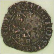 """Dinero """"novén"""" de Enrique III. (1390-1406). Burgos. 1_2"""