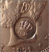 5 Pesetas Amadeo I 1871 - con resello  RESELLO