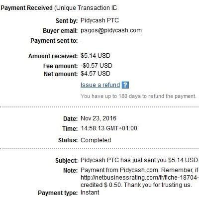 1º Pago de PidyCash ( $5,14 ) Pidycashpayment