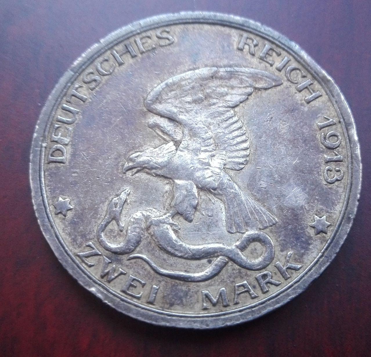 2 marcos 1913, Guillermo II. Prusia. Alemania 3_marcos_1913_anv