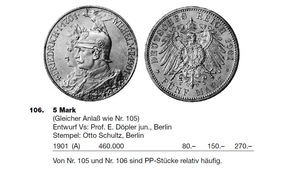 2 y 5 Marcos de 1.901, Conmemorativas del Bicentenario del Reino de Prusia Sin_t_tulo