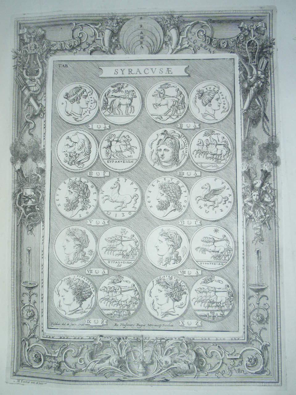 Estampa Antigüedades de Sicilia a la ateción del Marqués de la Ensenada, Pancrazzigrabado