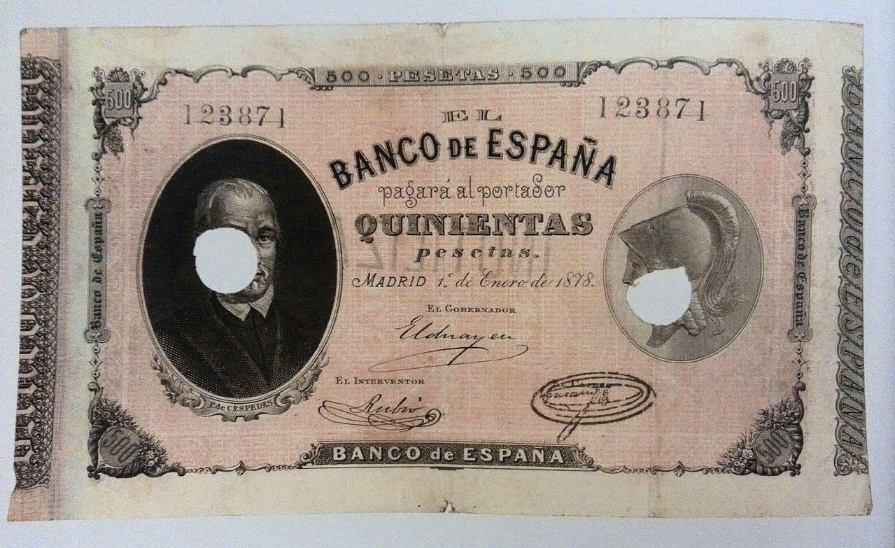 500 pesetas de 1878 Pablo de Céspedes (sus mil caras) 500_1878_bde