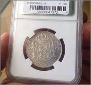 50 cents.de peso 1885 Alfonso XII FILIPINAS  Image