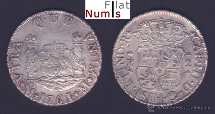 2 Reales columnarios de Carlos III año 1761. México Columnario