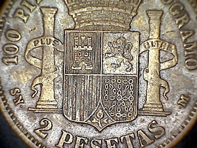 2 pesetas 1870. 131215063623271817156