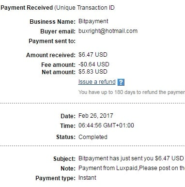 2º Pago de Luxpaid ( $6,47 ) Luxpaidpayment