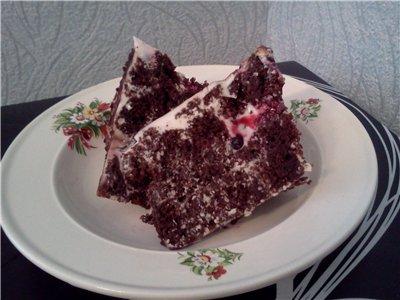 Сметанно-бисквитный десерт с чёрной смородиной 14cb7ae6e2e9