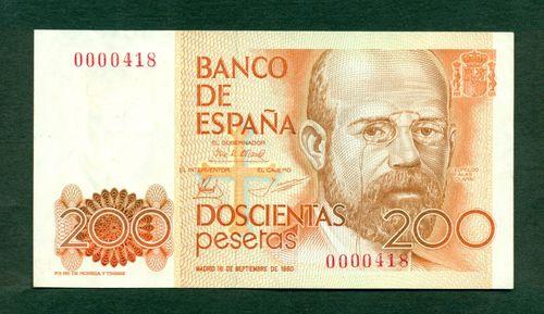 BONITO BILLETE DE 200 PESETAS DE 1980!!!NÚMERO BAJO 200_pesetas_numero_bajo