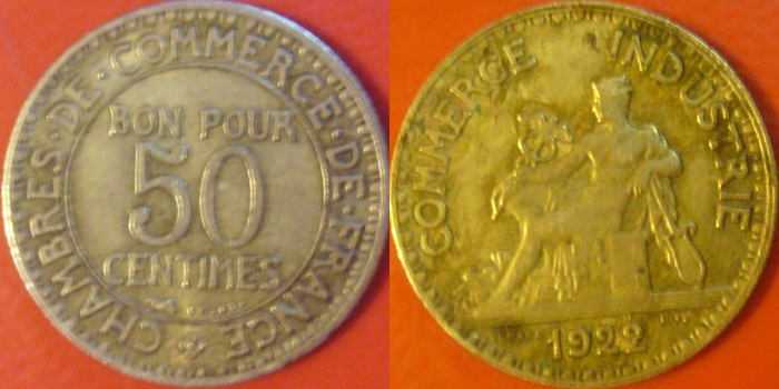 50 Centimes. Francia. 1922 Image