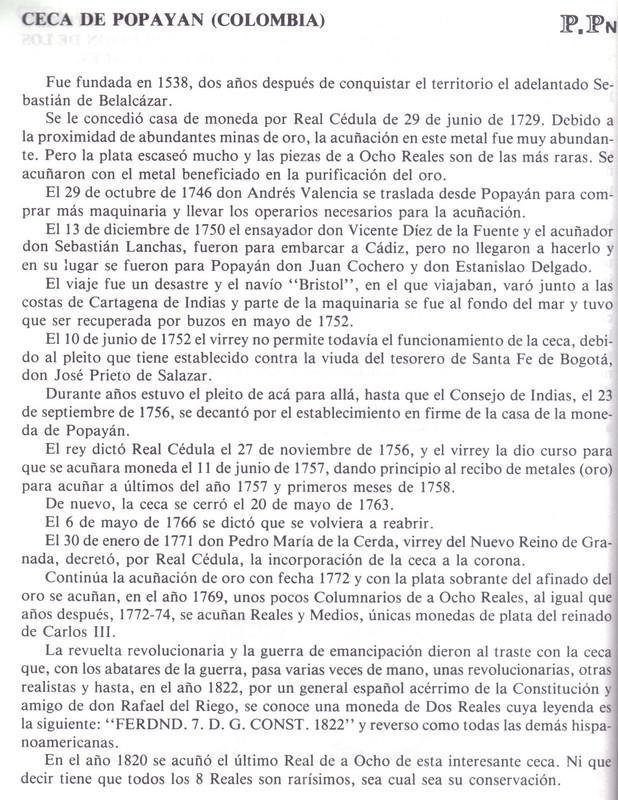 8 Reales 1810. Fernando VII. Popayán. Reproducción. Popa