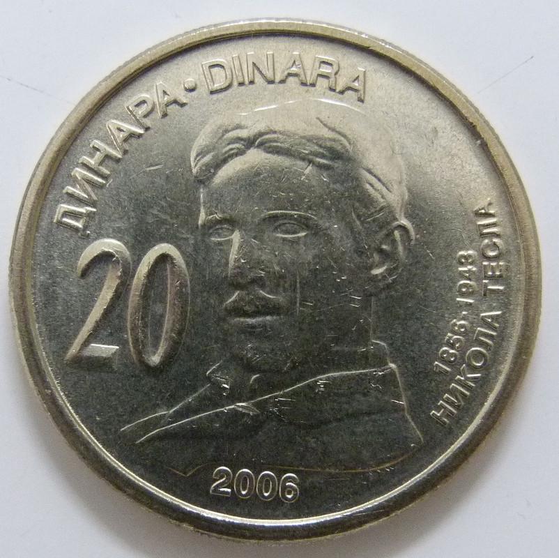 Serbia. 20 Dinares (2006) Nicola Tesla SRB_20_Dinares_Tesla_rev