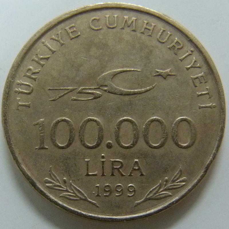 100.000 Liras. Turquía. 1999 TUR_100000_Liras_75_aniversario_rep_blica_a