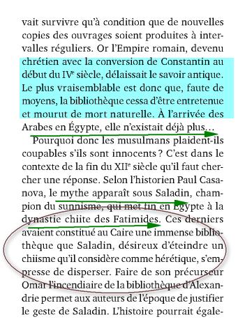 incendie  bibliothèque Alexandrie: Islam obscurantiste Image