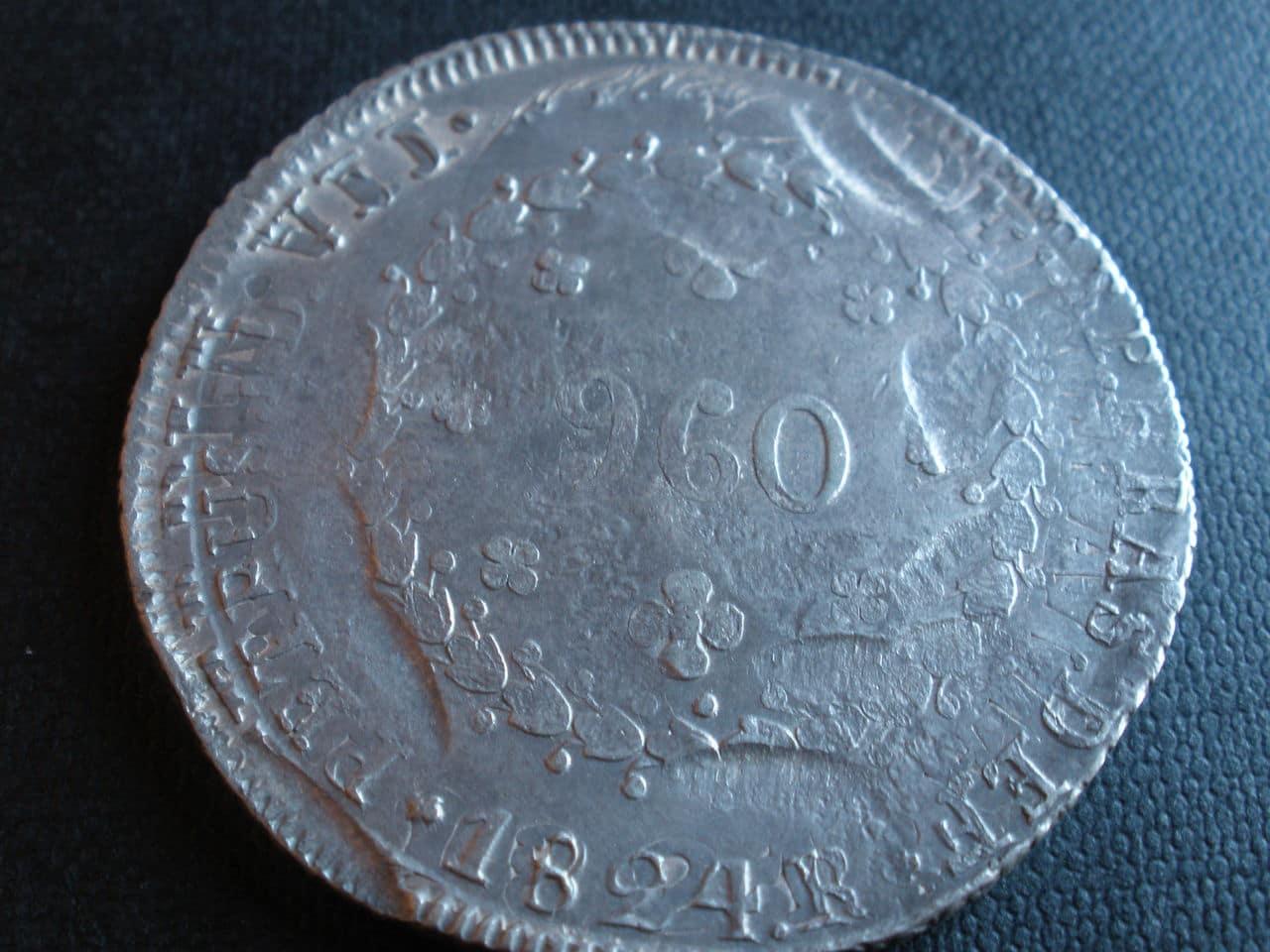 960 Reis Pedro II Brasil. Sobre 8 reales Fernando VII Moneda_12
