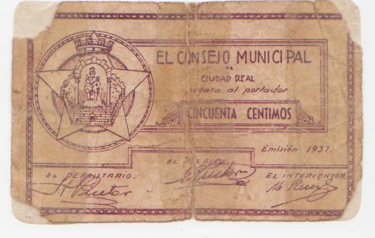 El billete peor conservado de esta seccion Ciudad_real_50_centimos_anv