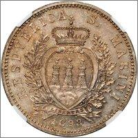 5 lire 1898 Republica de SanMarino Image