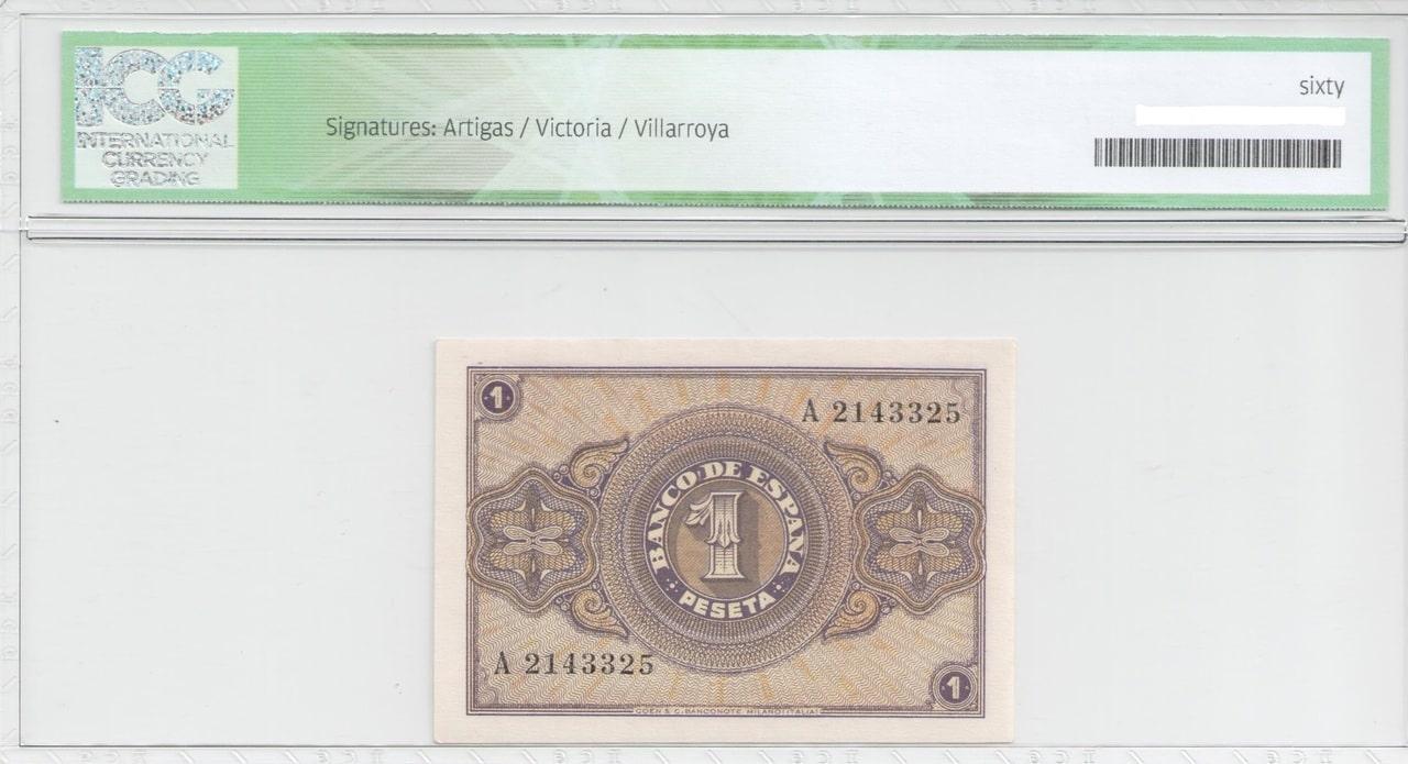Colección de billetes españoles, sin serie o serie A de Sefcor 37_reverso