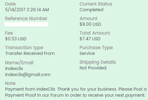 6º Pago de IndexClix ( $8,00 ) Indexclixpayment