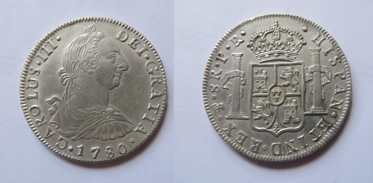 8 Reales 1780. Carlos III. Potosí. C_III._1780._EBC