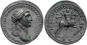 Dupondio de Trajano. S P Q R OPTIMO PRINCIPI. Emperador derribando a enemigo. Roma 538