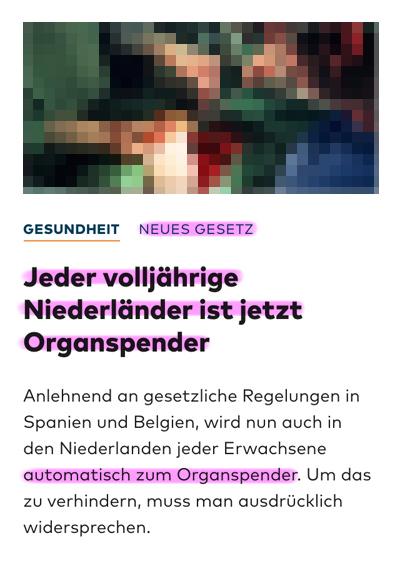 Organspende / Transplantation Niederlaender