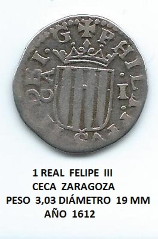 1 real Felipe III año 1612, Zaragoza. Image