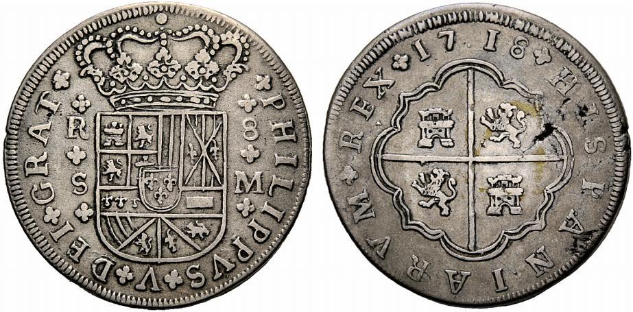 8 Reales macuquinos. Felipe II, Potosí. 1188965