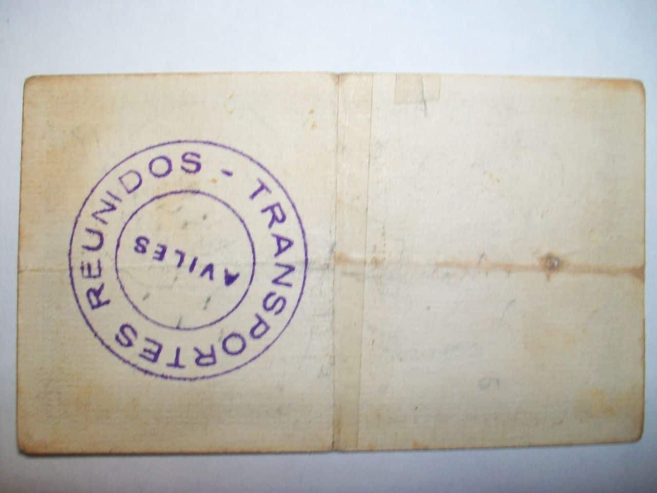 2 Ptas. Control Omnibús El Avilés. 25 de Junio de 1937. 100_2029