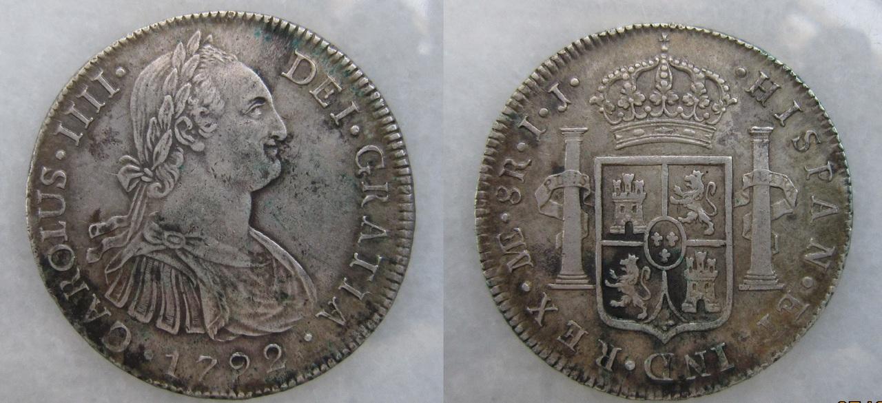 8 Reales 1792. Carlos IV. Lima. 8_reales_1792_Carlos_IV_Lima