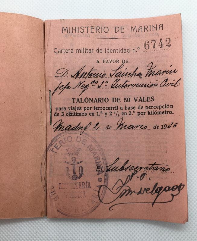 Talonario de 50 vales para viajes por ferrocarril. Ministerio de Marina, Serie Z 1936. EE0_D64_A3-_C399-4_FA1-_AFF2-2_DFDD06100_E6