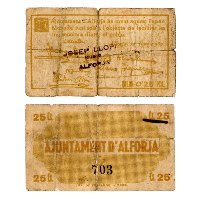 25 cts. d'Alforja y el baúl de los recuerdos. Billete_amarillo_alforja_1