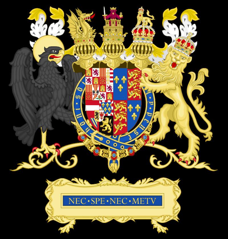 1 real 1505 Felipe I El Hermoso y Juana I de Castilla. Amberes Full_Ornamented_Coat_of_arms_of_Philip_II_of_Spa