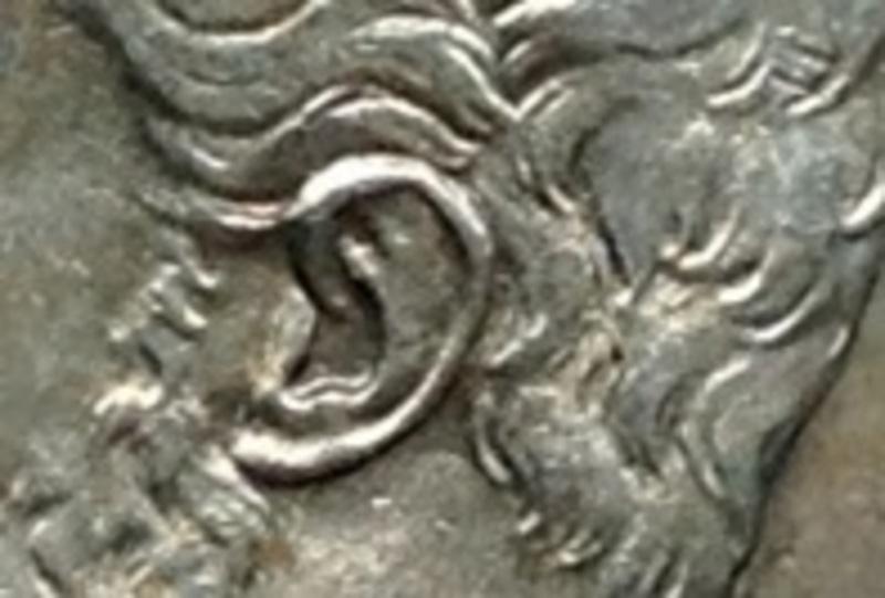 5 pesetas Amadeo I *71 Oreja rayada y Base columna corta 5pts_oreja