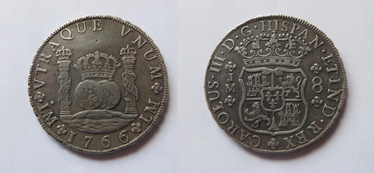 8 Reales 1766. Carlos III. Lima C_III._1766._COLUMNARIO