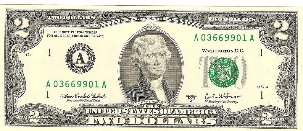2 dolar estado unido de américa año 2003 Image