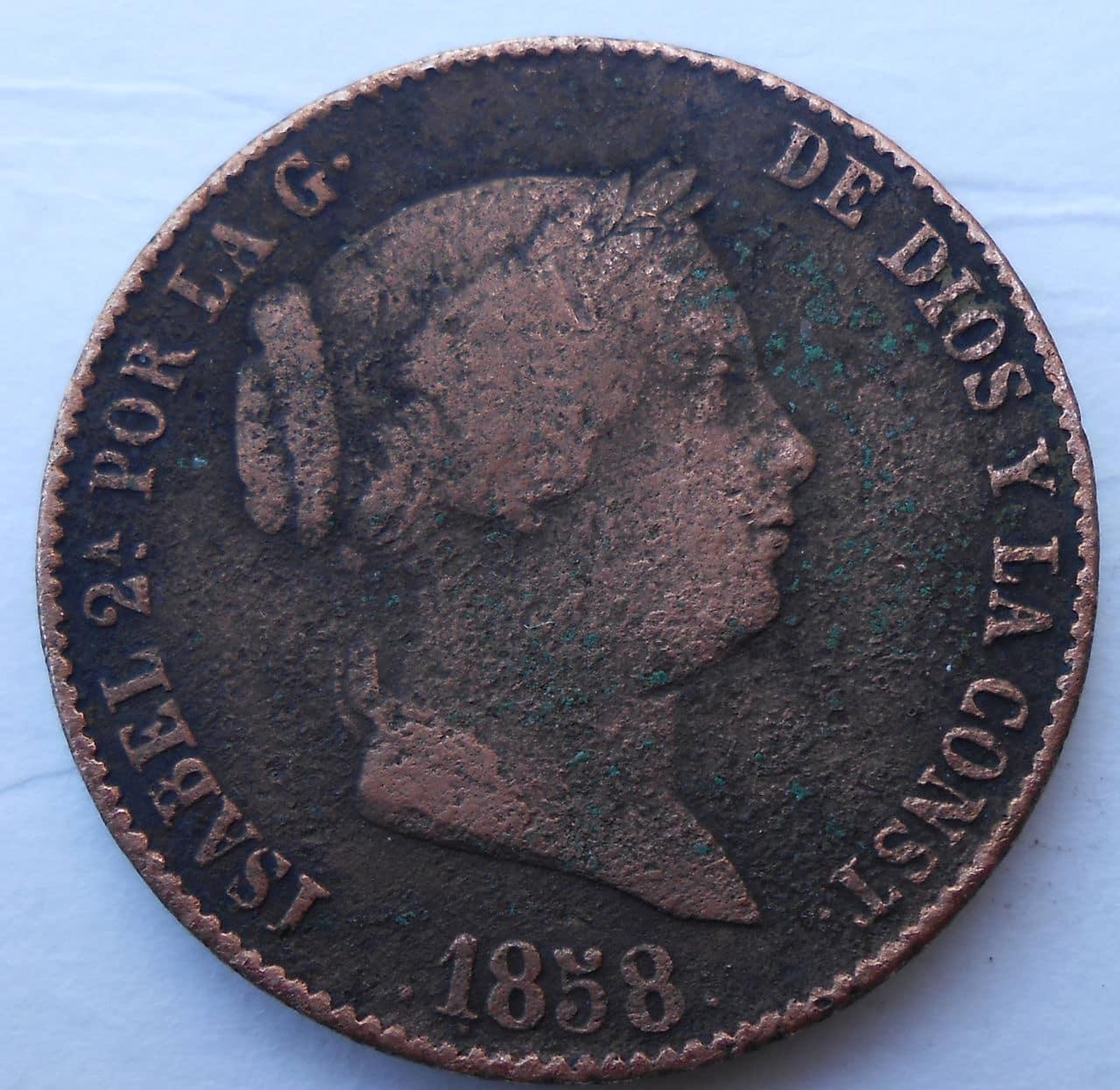 25 centimos de real (un cuartillo) Isabel 2ª año 1858 DSCN0474