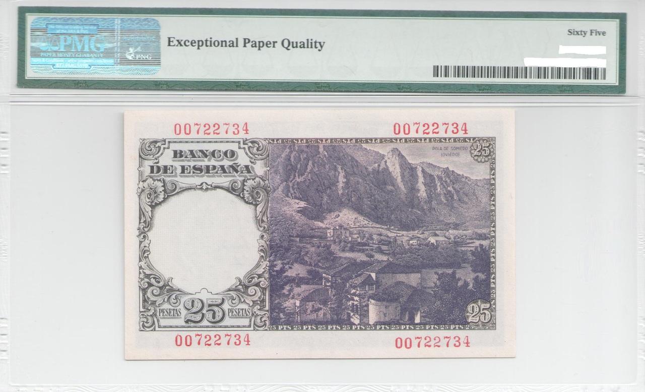 Colección de billetes españoles, sin serie o serie A de Sefcor - Página 4 25_ptas_1946_reverso