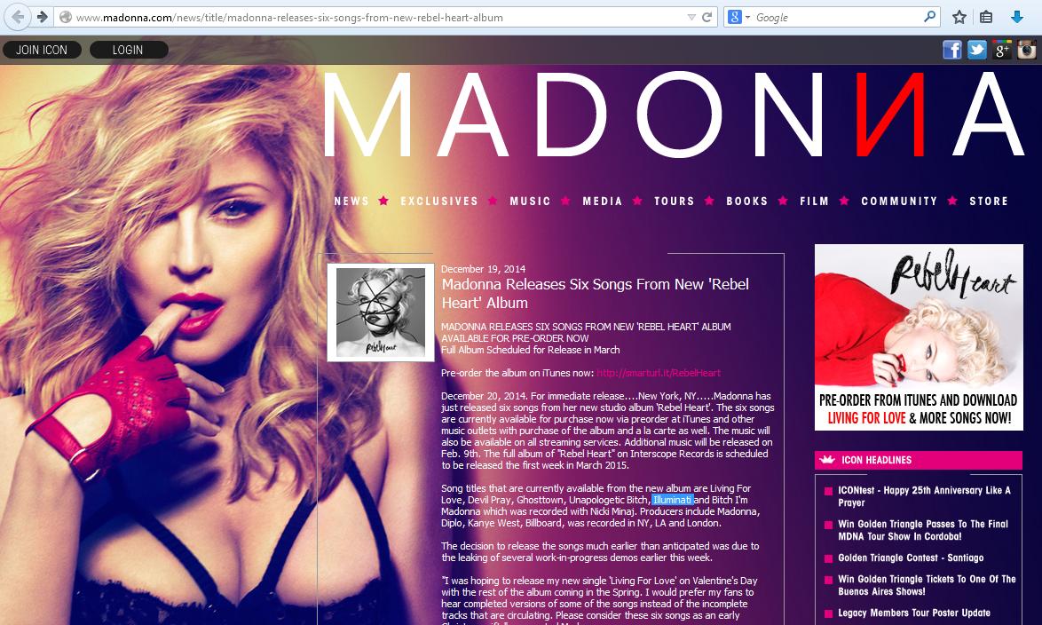 MADONNA DEFIENDE A LOS ILLUMINATI EN SU ÚLTIMO ÁLBUM Madonna